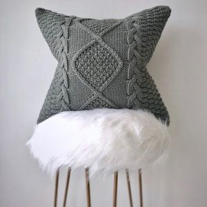 Grey Cable Knit Pillow Cover